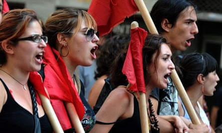Greek students proresting