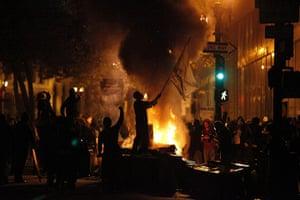 Oakland protests: burning rubbish