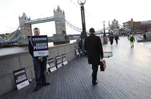 public sector strikes: A picket stands outside City Hall in central London