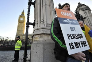 public sector strikes: Pickets stand outside the Houses of Parliament