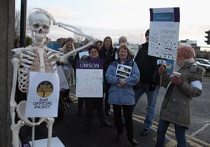 public sector strikes: Radiographers from the Royal Liverpool Hospital stand on the picket line