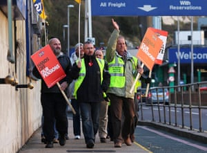 public sector strikes:  picket line outside the Port of Dover in Kent