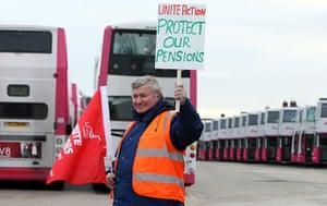 public sector strikes: Short Strand bus depot, in Belfast