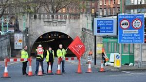 public sector strikes: Unite members strike outside the entrance to the Birkenhead Tunnel