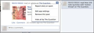 How to hide the Guardian's Facebook app