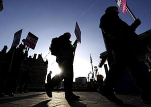 Strikers march: Public sector workers disperse after attending a rally in Bradford
