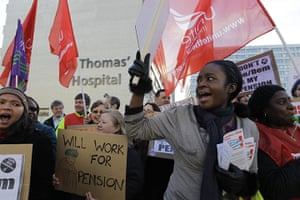 Strikers march: Health workers demonstrate during a strike outside St. Thomas' Hospital
