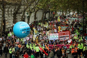 Strikers march: Public sector workers march in London in protest at pension cuts