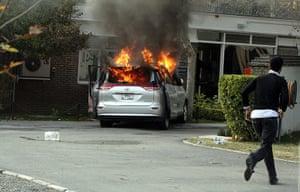 British Embassy, Iran: A burning diplomatic vehicle inside the grounds of the British embassy