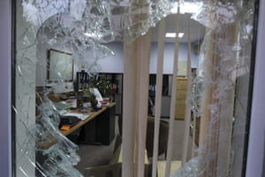 British Embassy, Iran: A shattered window of an office of the British Embassy