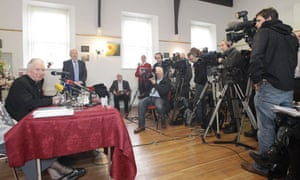 Bishop of Raphoe Philip Boyce holds a press conference in Letterkenny, Co Donegal
