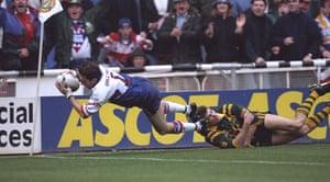 Great Britain v Australia: Jonathan Davies of Great Britain scores a try against Australia in 1994
