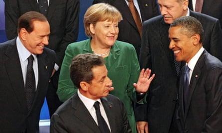 Silvio Berlusconi, Nicolas Sarkozy, Angela Merkel and Barack Obama in Cannes