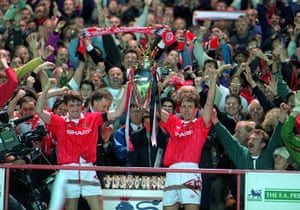 Fergie's 25 years: Steve Bruce and Bryan Robsons lift The Premier League Trophy