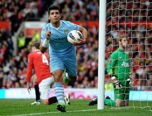 Fergie's 25 years: Manchester City's Sergio Aguero celebrates scoring against Man United