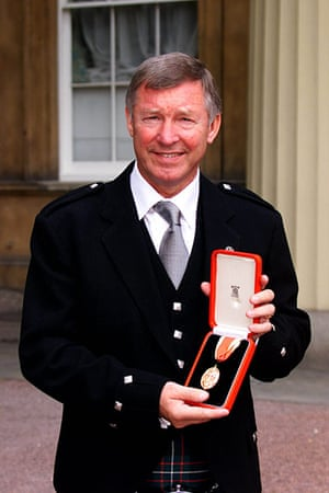 Fergie's 25 years: Manchester United manager Alex Ferguson is knighted by the Queen