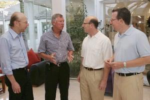 Fergie's 25 years: Sir Alex Ferguson meets Avram Glazer, Joel Glazer and Bryan Glazer