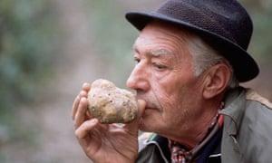 Man smelling truffle