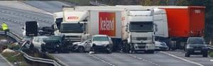M5 crash: M5 motorway crash close-up