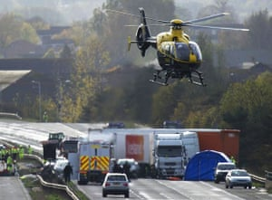 M5 crash day 2: A helicopter at the crash scene