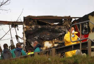 M5 crash day 2: Crash investigators at work near a burnt-out lorry