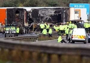 M5 crash day 2: Dozens of emergency workers at the rear of the crash site