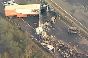 M5 crash day 2: Aerial view of the scene taken from TV footage