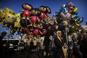 24 hours in pictures: balloons on sale outside the Damascus Gate in JErusalem