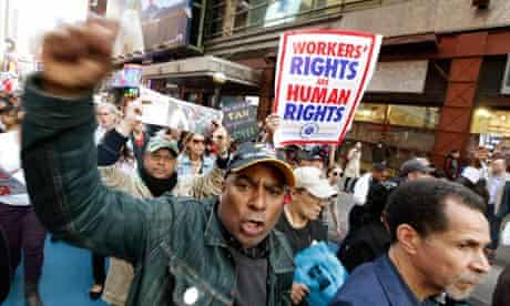 Occupy Wall Street protesters march in New York