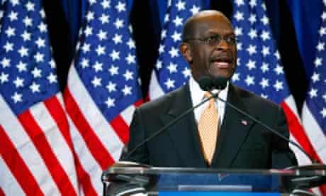 Herman Cain speaks at a press conference in Arizona