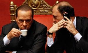 Angelino Alfano (right) with Silvio Berlusconi