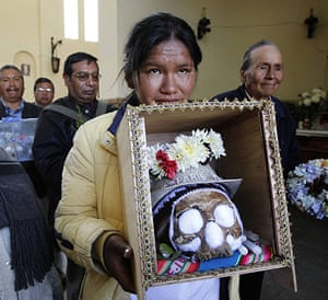 Bolivia day of skulls: decorated skull