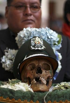 Bolivia Day of the Skulls: skull in a cap