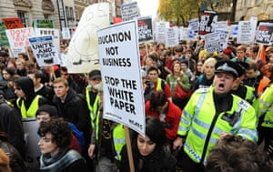 Student protests update: Student protesters march through the City of London