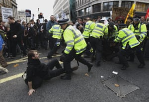 Student protests update: British police officers scuffle with students