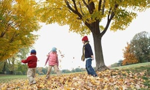 Children playing outdoors in autumn