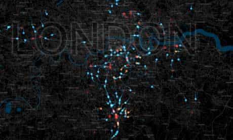 UK riots distance map London