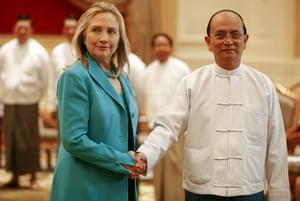 Hillary Clinton in Burma: handshake