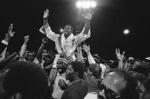 Drama in Bahama: Trevor Berbick celebrates beating Muhammad Ali