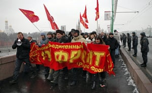 Moscow protests: Protesters holding a red banner