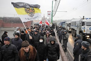Moscow protests: Protesters wave an old Russian flag