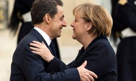 Sarkozy and Merkel at euro crisis meeting