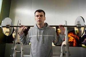 Mikhail Prokhorov: Russian billionaire Mikhail Prokhorov in his home gym