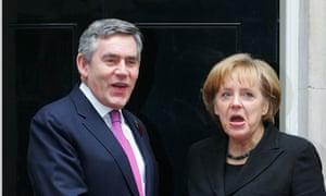 Gordon Brown and Angela Merkel in Downing Street