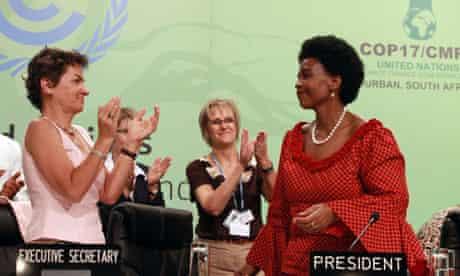 Maite Nkoana-Mashabane (right) and Christiana Figueres (left) at Durban climate change conference