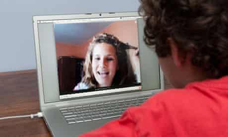 Teenager talking on Skype