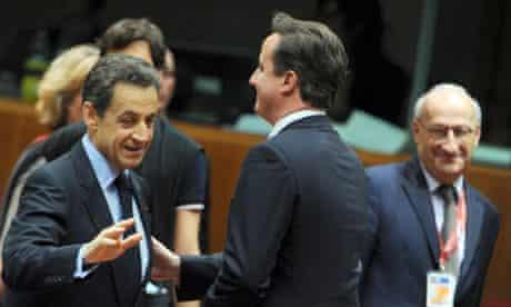Nicolas Sarkozy and David Cameron in Brussels