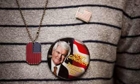Republican supporter with Newt Gingrich badge