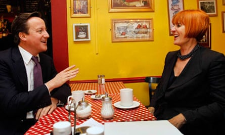 David Cameron chats with retail expert Mary Portas