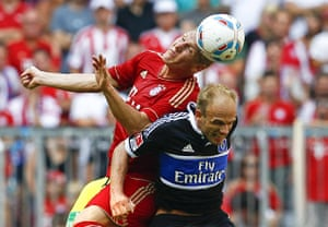 Man Utd targets: Bayern Munich's Bastian Schweinsteiger challenges Hamburg's David Jarolim